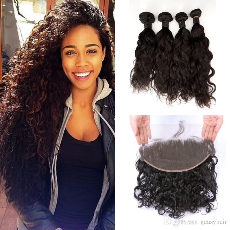 136 Full Lace Frontal Closure With Mongolian Human Hair Bundles Wet