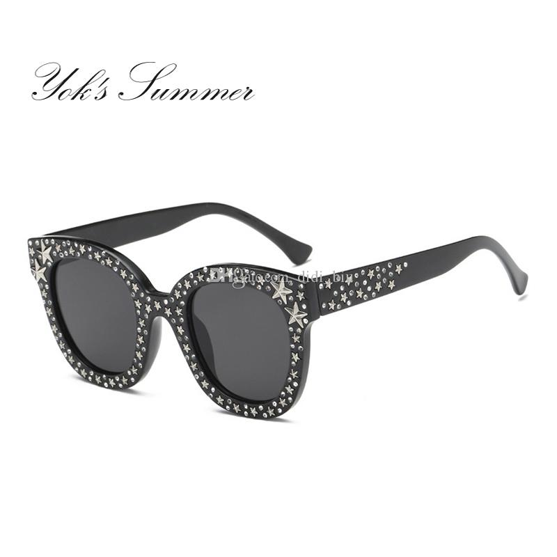 34cb91dc22 Yok s Summer Diamond Sunglasses Women Brand Retro Plastic Frame ...