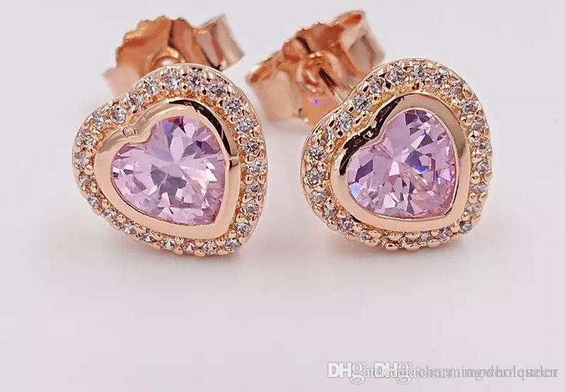e27445664 2019 Rose Gold Heart Studs Earrings Fits Pandora Style Jewelry Z H9 From  Charmingwholesaler, $57.68 | DHgate.Com
