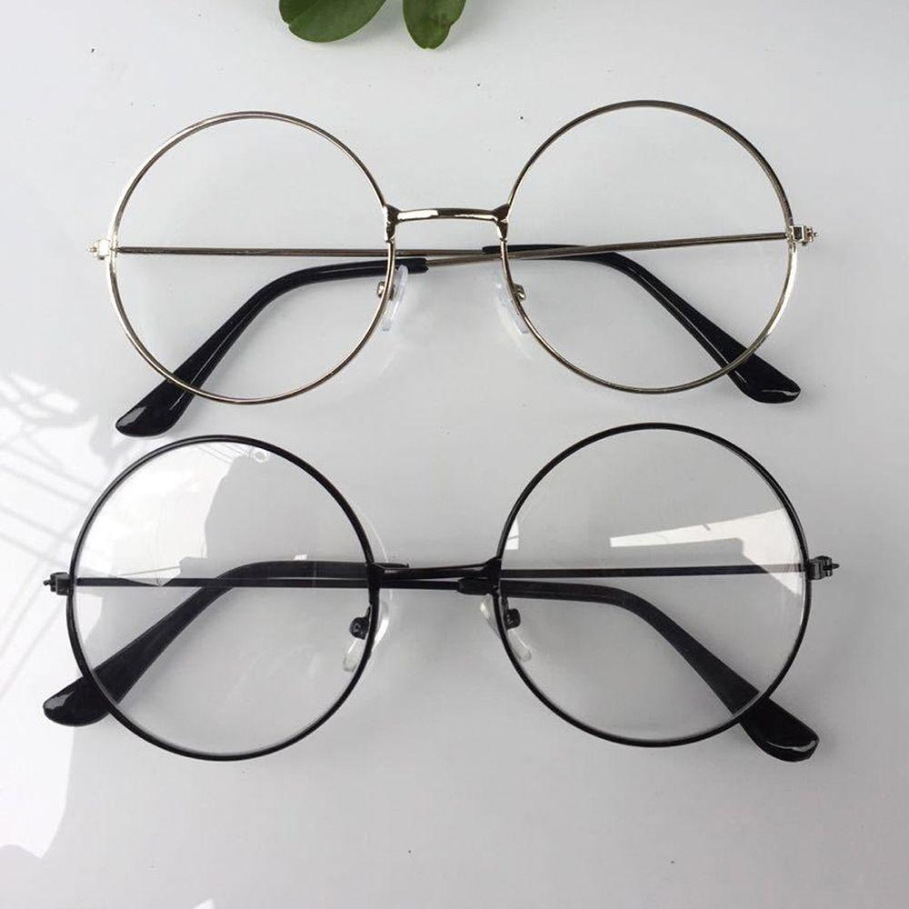 2018 2018 New Man Woman Retro Large Round Glasses Transparent Metal ...