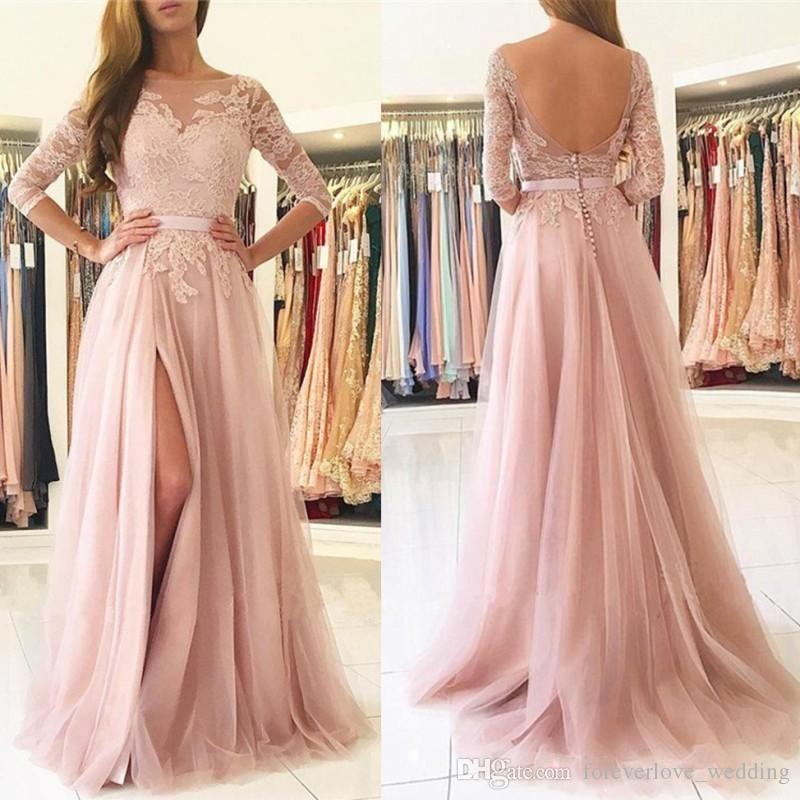 54ee25f68b 2018 Blush Pink Split Prom Dresses Long A Line Sheer Neck Appliques Evening  Dress Vestido De Fiesta 3 4 Long Sleeves Open Back Formal Gowns Plus Dresses  ...