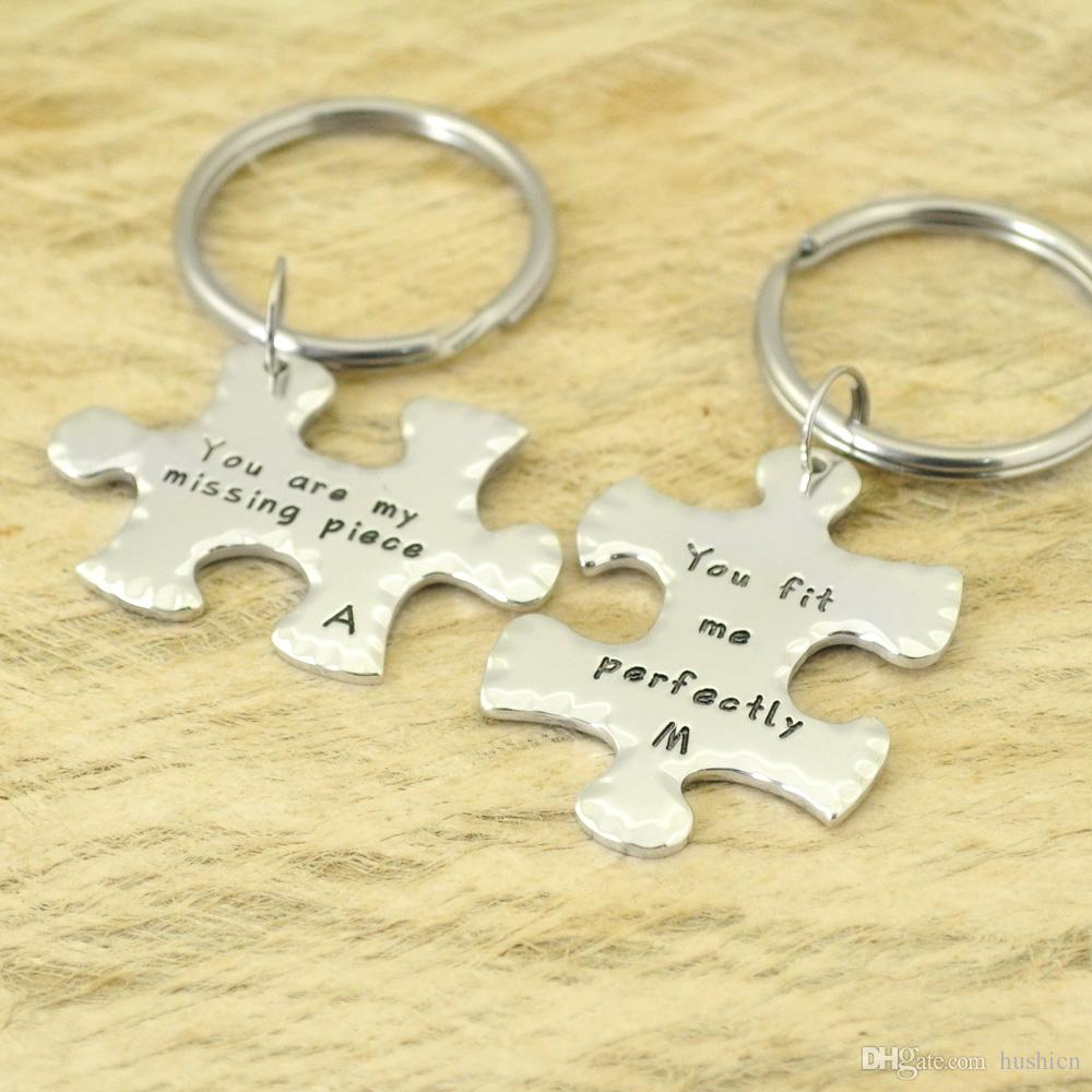8217dbb537062 2019 Personalized Anniversary Gift Puzzle Piece Keychains Customized  Keychains Couple Keychains Long Distance Gifts From Hushicn