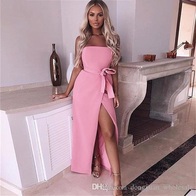 9f9d75b2fe6 2018 Summer Party Dress Women Strapless Slim Stretch Bodycon Basic Tube  Long Slip Dresses With Belt Casual Split Vestidos New White Prom Dress Girl  Dress ...