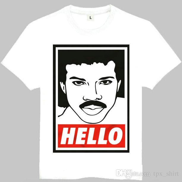 a3e538d8 Lionel Richie T Shirt Hello Short Sleeve Gown Pop Star Tees Leisure  Printing Clothing Quality Cotton Tshirt T Shirt Printing Shirts From  Tpx_shirt, ...