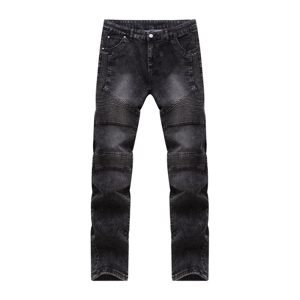 66deb52bde Compre Nueva Moda Para Hombre Slim Fit Jeans Negros Moto Denim Joggers  Plisado Pantalones De Jean Barato Pierna Recta Jeans Para Hombres A  43.28  Del ...