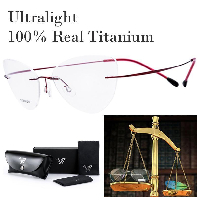 8662a092312 2018 Titanium Ultra Light No Screw Cat Eye Rimless Prescription Glasses  Frame Women Eyeglasses Myopia Optical Frames Eyewear 2017 From Shuidianba