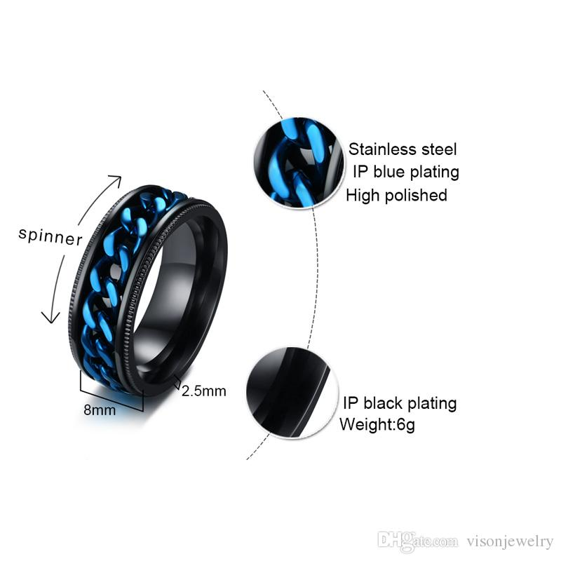 Free Engrave Black Stainless Steel Spinner Band Rings Decorated Edges and Rotating Center Chain Links Ring