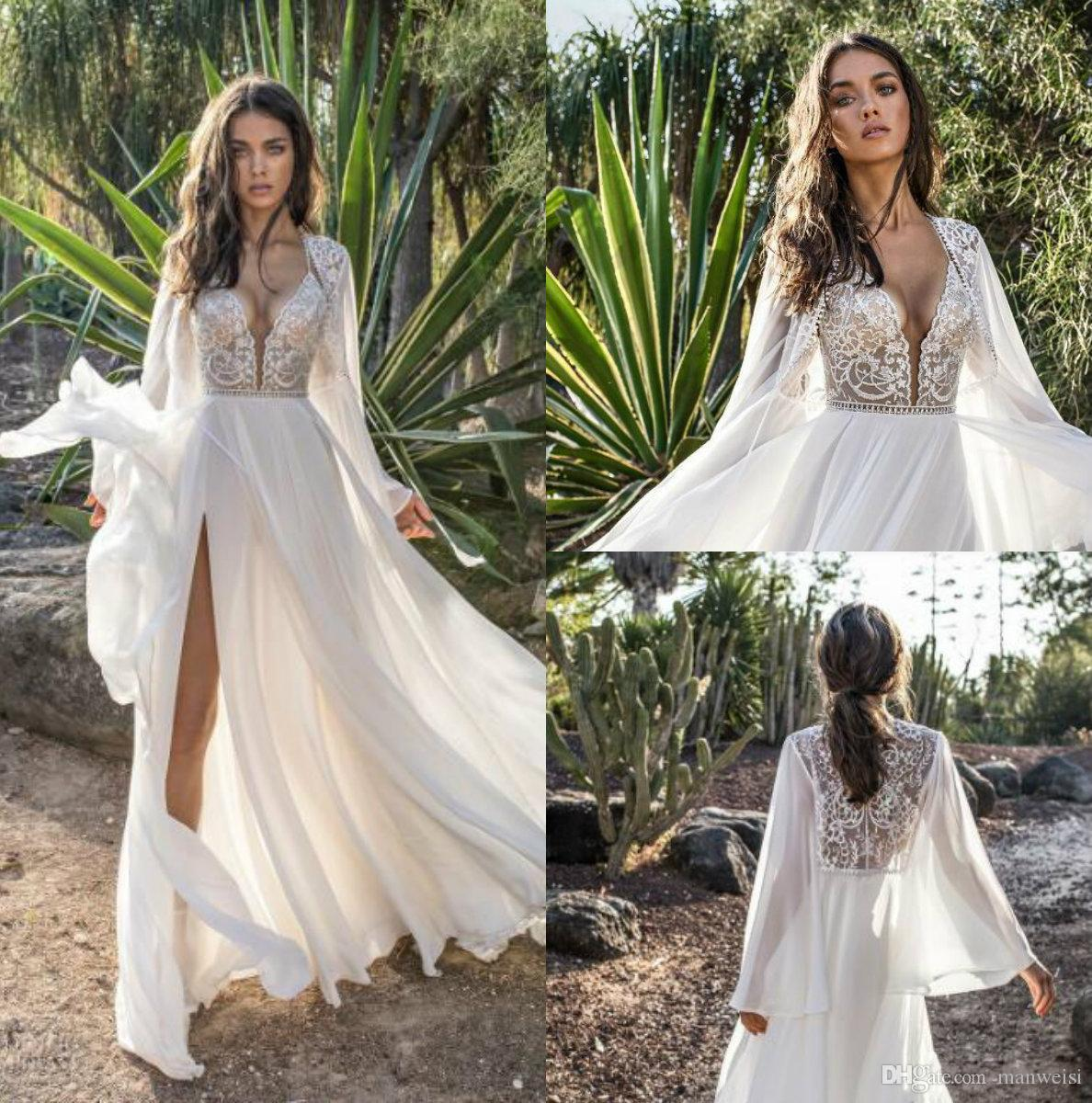 d876e74a2b0 Discount 2018 Asaf Dadush Boho Wedding Dresses With Long Sleeve Wrap Side  Split Beach Chiffon Bohemia Bridal Gowns Beaded Lace Wedding Dress Wedding  Dreses ...