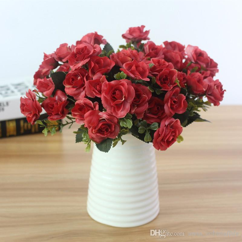 Austin 15 heads Autumn Artificial Silk Fake Rose Flowers Wedding Party Home Decor Flower Arrangement decorations