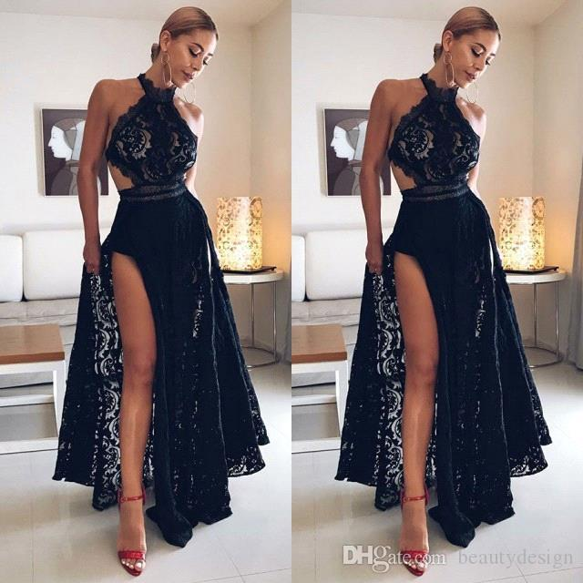 Black Girls Sexy Backless 2019 Dark Navy Prom Dresses Cutaway Sides Halter Neck A Line Evening Gowns High Split Event Look BC0162 .