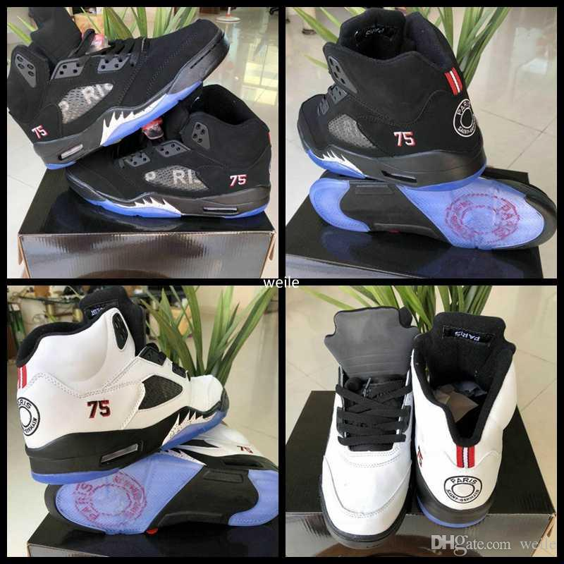 3ccadd66aa33 2019 2018 New Mens Basketball Shoes 5 5s PSG X Paris Saint Germain 75 Black  White Suede AV9175 001 Men Sport Trainers Sneakers Size US 8 13 From Weile