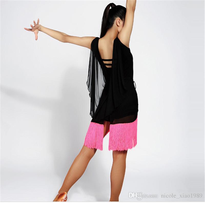Новые женщины латинский танец Dress сальса танго ча ча бальные конкуренции практика танца Dress Sexy рукавов кисточкой Dress S-XL