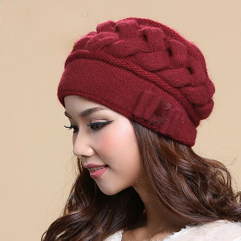 51842a43396bd7 Female Skullies Beanies Hat Women'S Winter Knitted Hats Double Layer  Thermal Rabbit Fur Caps Wool Hat Protection Ear 2849