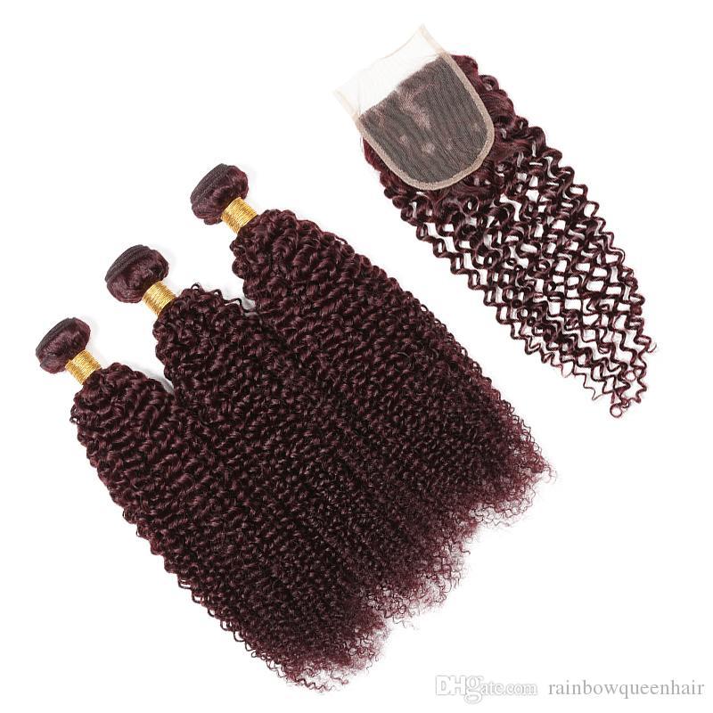 Burgundy Virgin Brazilian Human Hair Weaving kinky Curly with Closure Wine Red Hair Weave Kinky Curl Hair Bundle Deep Wave With Closure