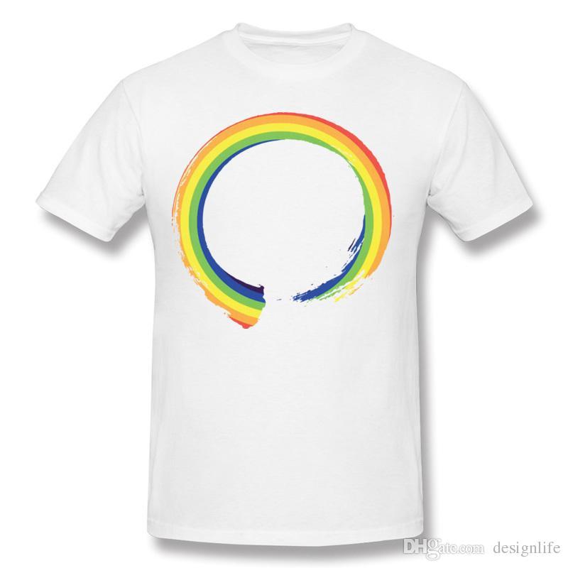 Best Sale Male Cotton Fabric Rainbow Enso T Shirts Male Crewneck Gray Short Sleeve T-Shirt 6XL Design T Shirts