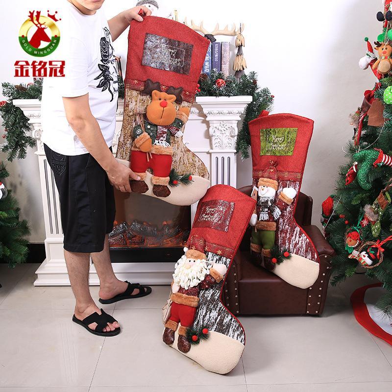 Große Größe Weihnachtsstrumpf Weihnachten Kinder Geschenk Tasche Wand Anhänger Weihnachtsmann Elch Schneemann Weihnachtsbaum Stocking Decor Home ...