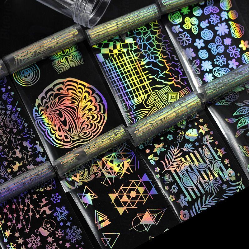 Holografik Tırnak Folyo Lazer Çiçek Dreamcatcher Karışık Desenler Galaxy Manikür Nail Art Transfer Sticker Noel Halloween Partisi için Set