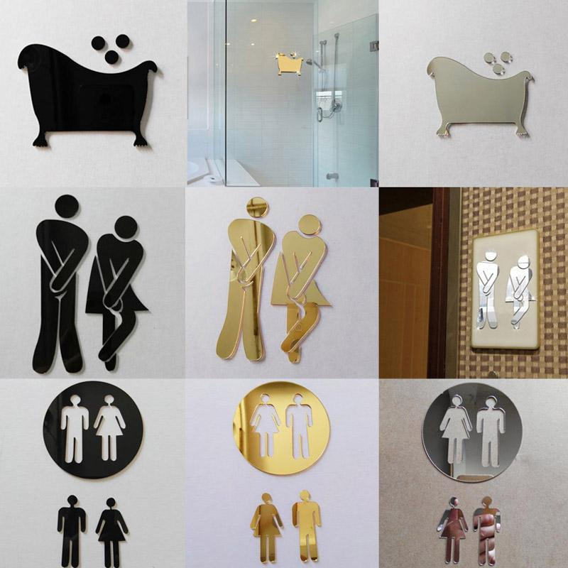 3d mirror sticker funny wc toilet door entrance sign men women