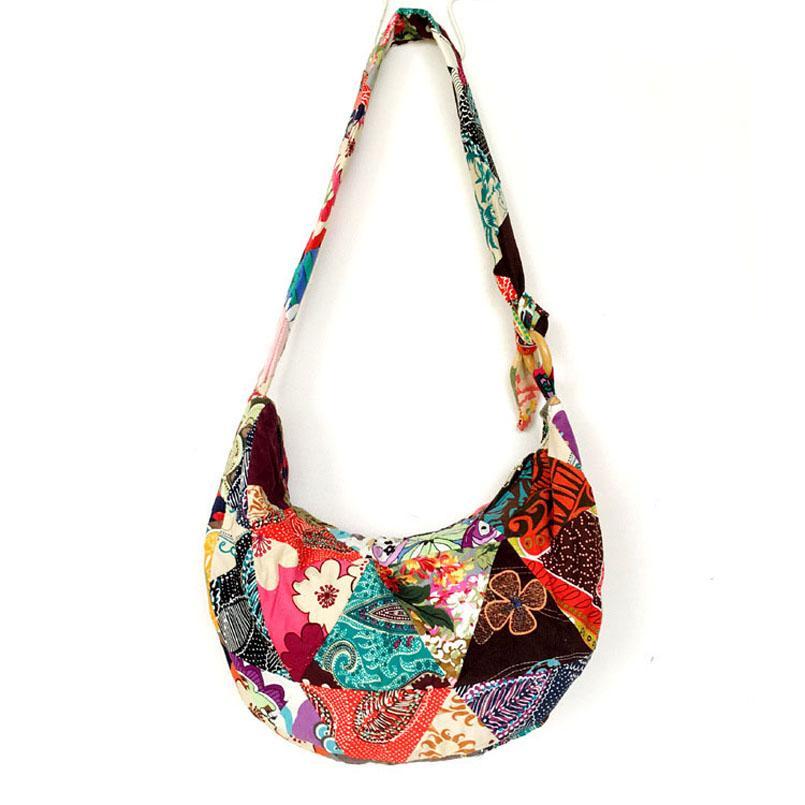 8e396d12c861 Unique Patchwork Handmade Sling Crossbody Messenger Shoulder Bag Women  Bohemian Hippie Cotton Canvas Bags Discount Designer Handbags Wholesale  Purses From ...