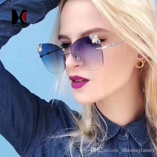 805f779aab Compre SHAUNA Moda Mujer Sin Montura Cat Eye Gafas De Sol Metal Honey Bee  Gradient Sun Gafas Mujer A $9.7 Del Shaunaglasses   DHgate.Com