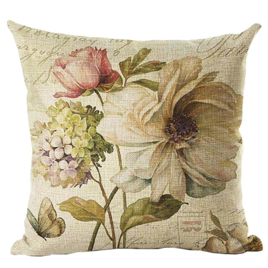 New 1PCS Vintage Flower Paern Throw Pillow Case Square Pillow Cases 45*45cm Throw Pillow Case Cartoon Pillowcases Best Gift