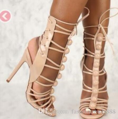 7aa7d9363 2018 New Fashion Women PARTY Shoes Lace Up High Heels Party Shoes Gladiator  Sandals Pink Runway Shoes Big Stud Sandals Sandles Wedge Booties From ...