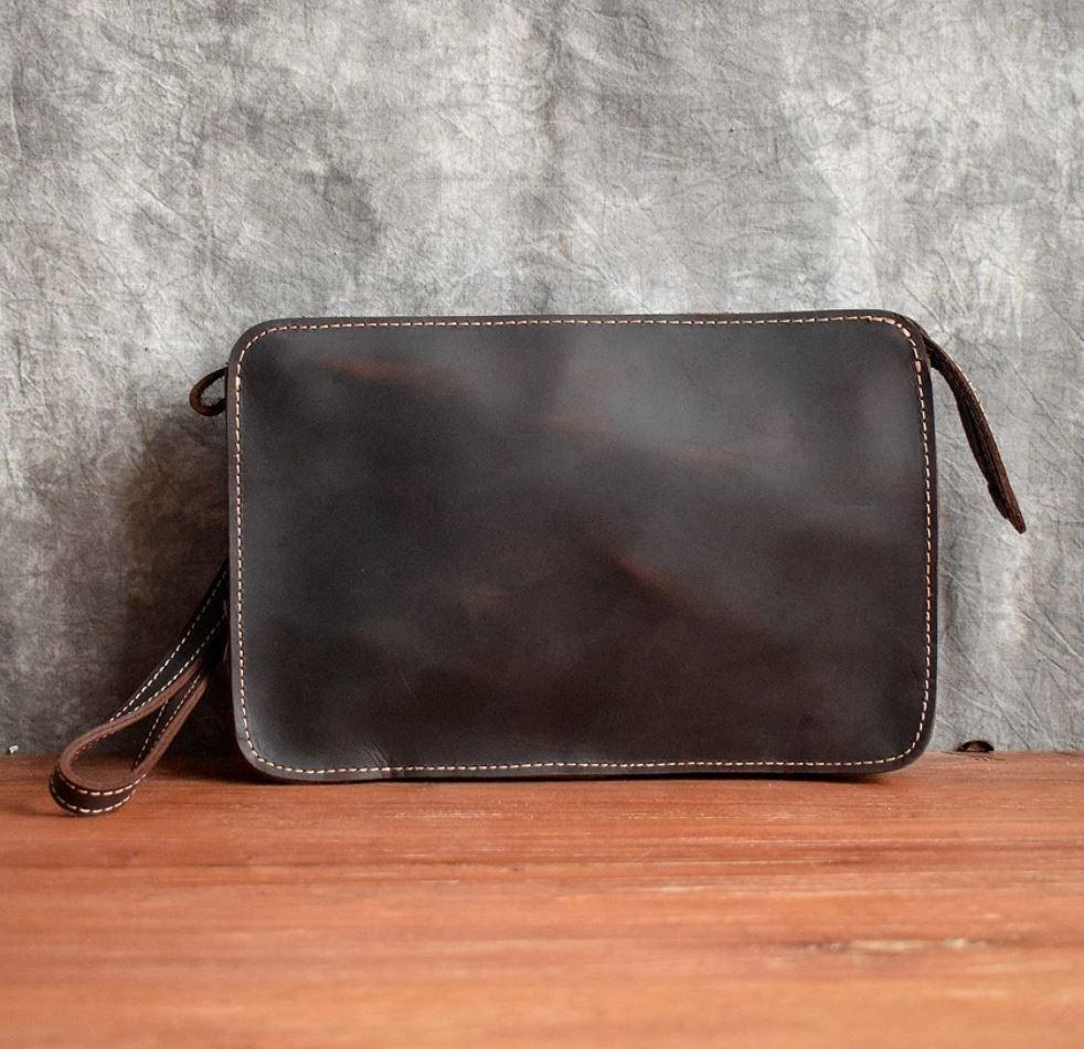 Original Crazy Horse Leather Shoulder Bag Men s Handmade Cowhide ... bba28e8ca6188