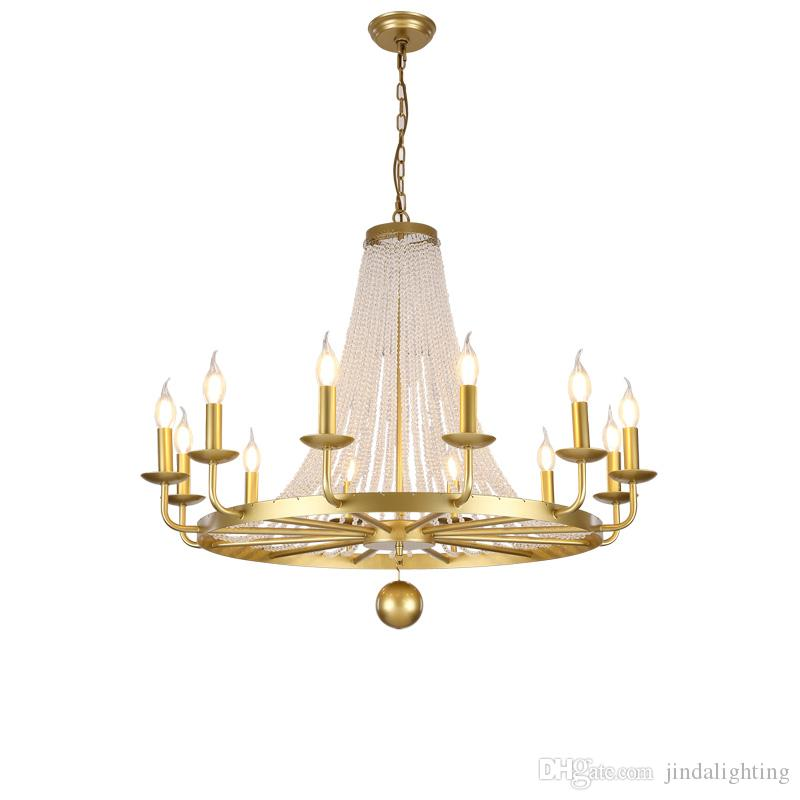 American Chandelier Nordic Living Room Dining Lamp Bedroom French European Village Wrought Iron Crystal Chandeliers Shade Glass