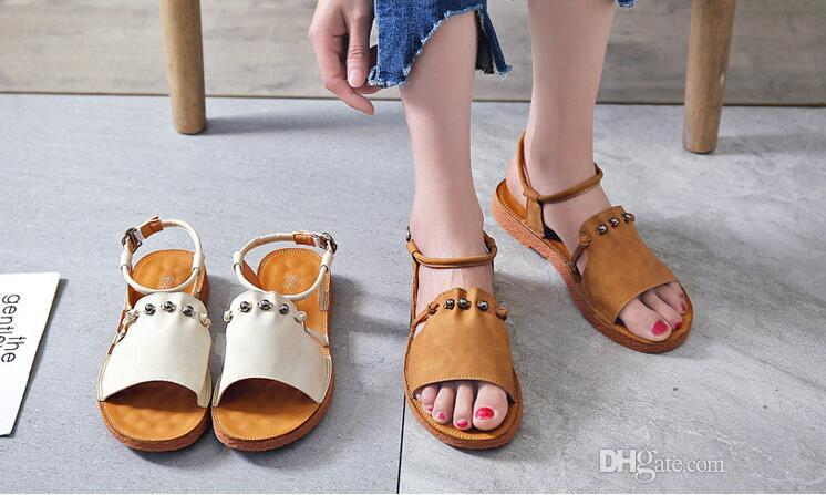 02cb5fa393e 2018 Brand Designer Sandals Women Genuine Leather Flat Shoes Metal Chain Casual  Shoes Loafers Fashion Outdoor Slippers Ladies Black Sandals Ladies Sandals  ...