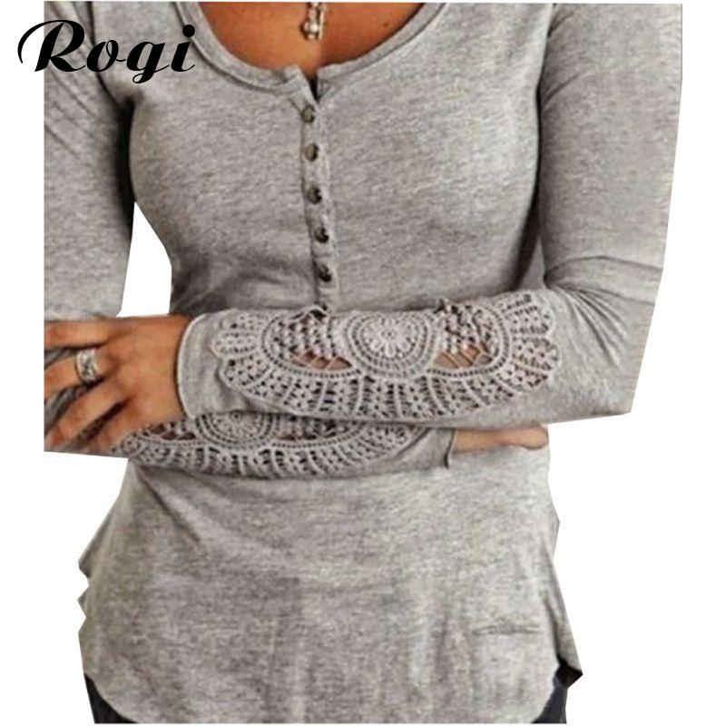 0f152957072 2018 Rogi Blusas Femininas 2018 Embroidery Crochet Blouse Long Sleeve Tunic  Jumper Shirts Tops Pullovers Camisas Mujer Plus Size From Vanilla01, ...