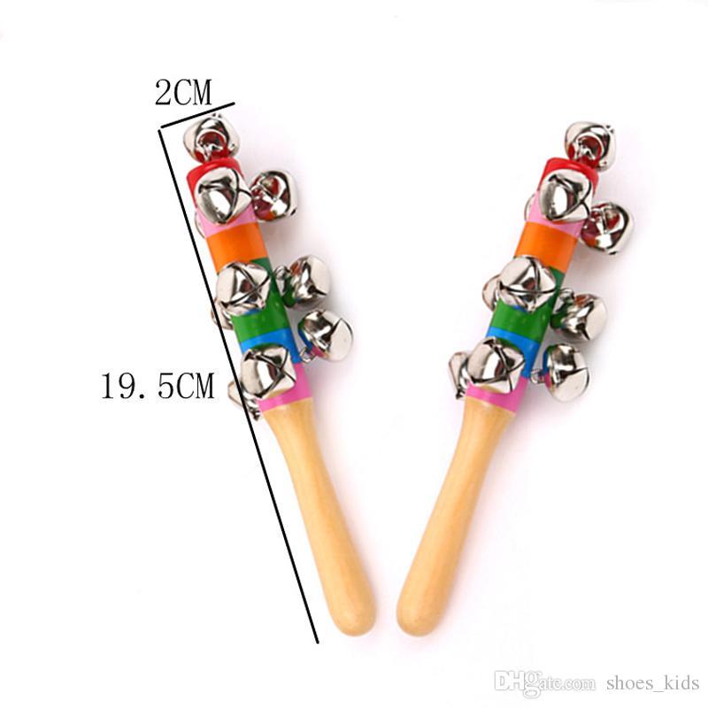 عصا خشبية جديد أسلوب الأغنية اجراس rainbow اليد يهز الصوت جرس خشخيشات طفل كيد الأطفال التعليمية للأطفال لعبة 18 سنتيمتر