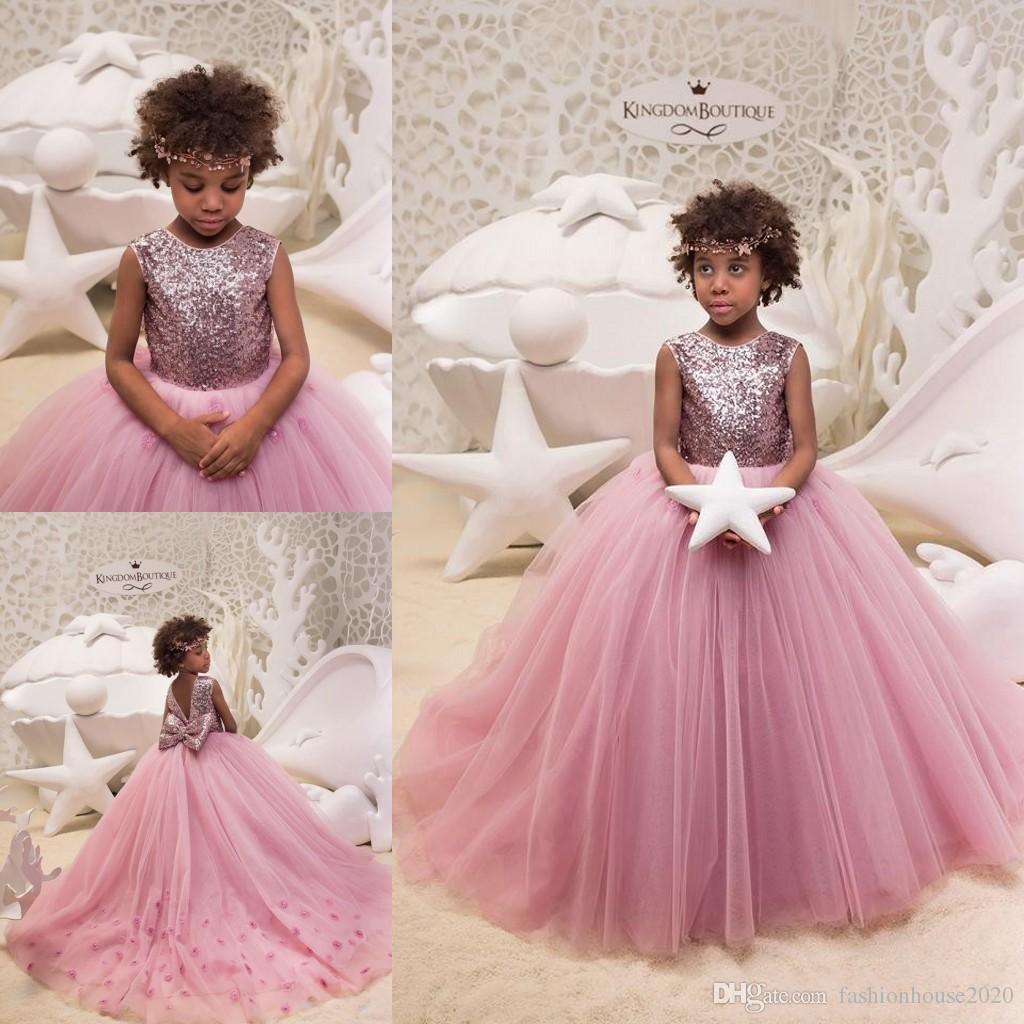 93937f8e05a5 2018 Princess Sequins Pink Flower Girls Dresses Jewel 3D Flowers ...