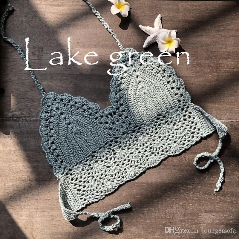 New Fashion Sexy Handmade Crochet Lady Due Pezzi Vestiti Petto Swimwear Costumi da bagno Bikini Beach Costume da bagno 9 9 YZ W