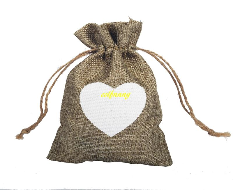 Vintage Natural Burlap Gift Candy Bags Wedding Party Favor Gift Box Pouch Jute White Love Heart Gift Bag