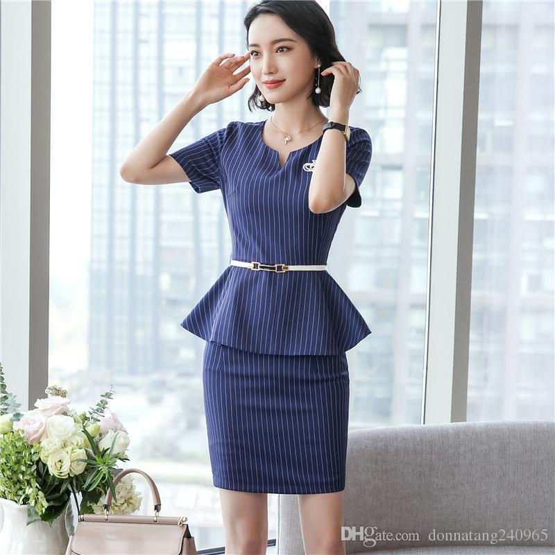f035e53197c7 2019 Formal Office Skirt Suit For Women Work Short Sleeve Jacket +Skirt  Pant  Summer Career Uniform From Dujotree