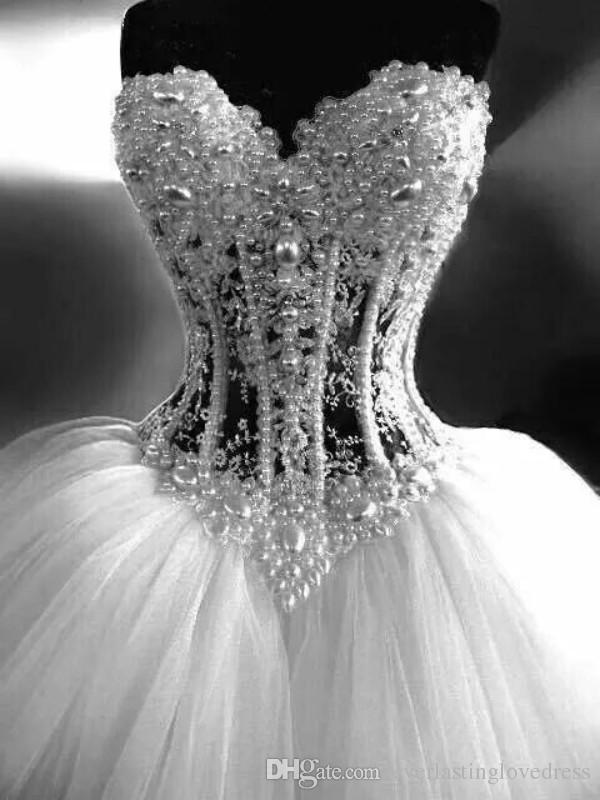 얇은 명주 그물 공주 신부 드레스 반짝 얇은 명주 그물 푹신한 스커트 코르셋 웨딩 드레스와 구슬의 연인 가운 데 mariee 뷔스티에
