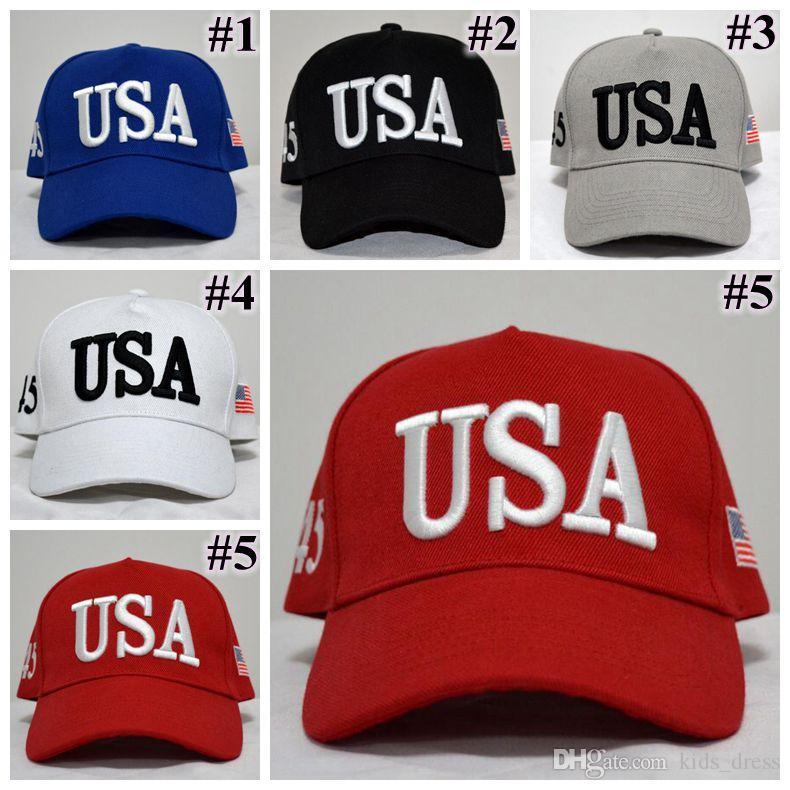 Compre 5 Cores USA Flag Ball Cap Unisex Moda Adulto Ajustável Donald Trump  Chapéu Snapback Sports Chapéus Gorros De Baseball Ajustados CCA9120 De  Kids dress ... c23cbabd362