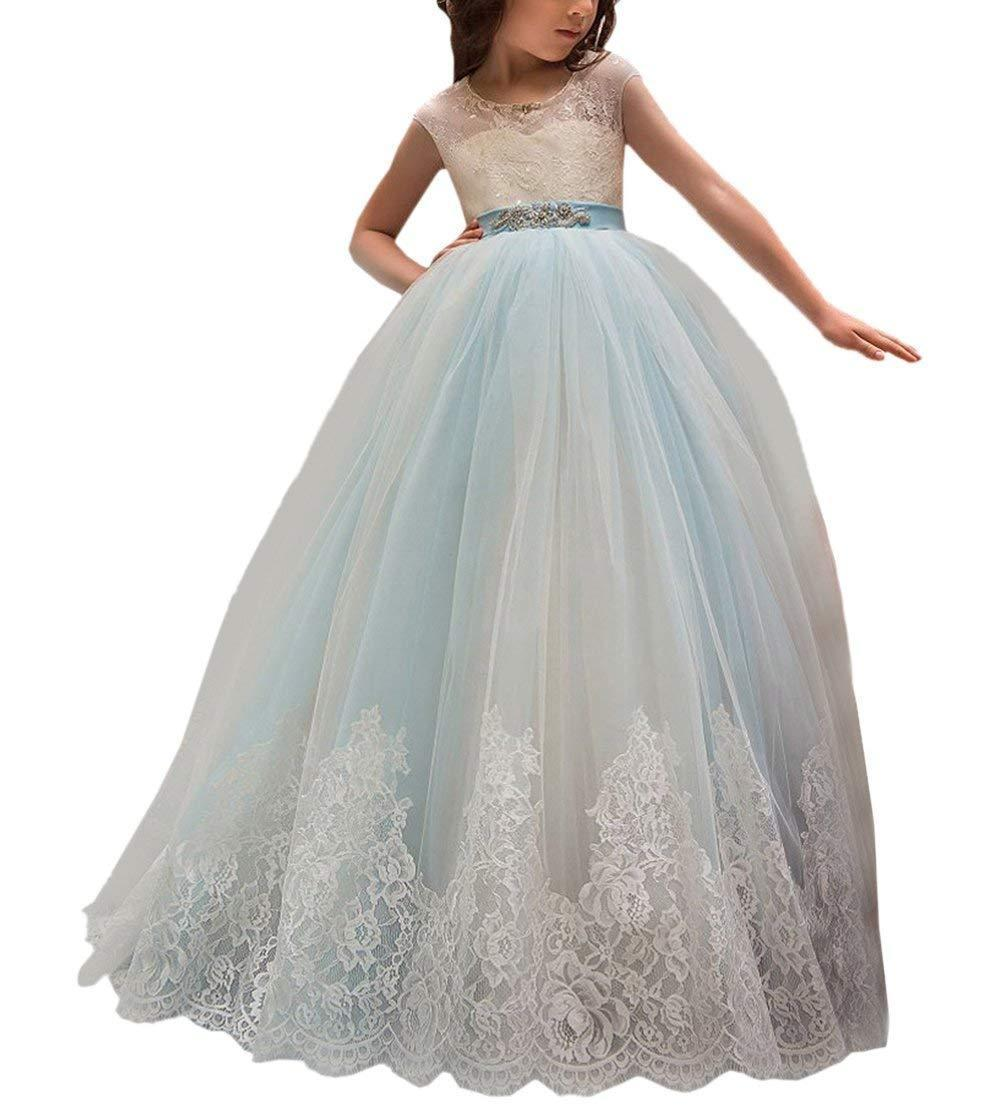 Light blue kids flower girl dresses with bows sash lace for wedding light blue kids flower girl dresses with bows sash lace for wedding ball gown kids girl bridesmaid dresses ivory flower girl dress kids bridesmaid dresses izmirmasajfo