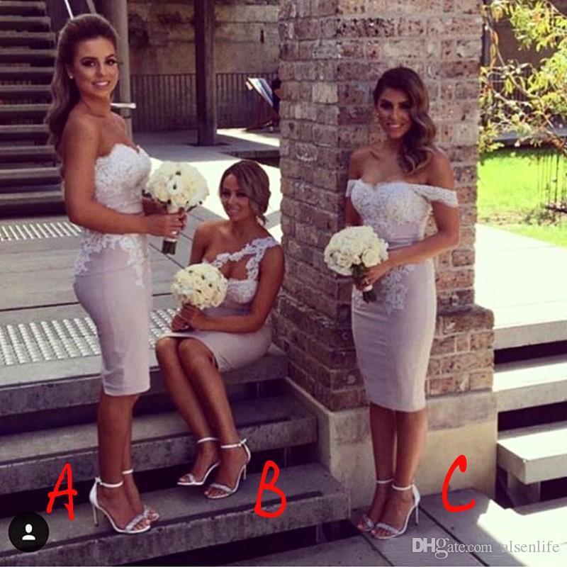 Bainha curta vestidos de dama de honra para o verão jardim igreja casamentos sem mangas Sexy Backless Appliqued vestidos de festa de convidados de casamento