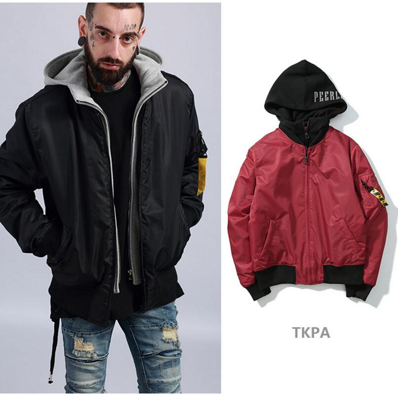Tkpa Mens Winter Thick Warm Jackets Hooded Patches Design Bomber