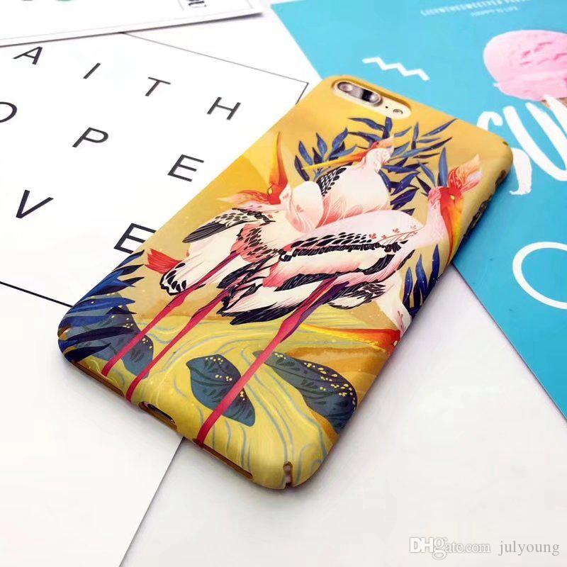 Chinese Oil Painting Phoenix Snake Bird Mate Hard Plastic Case for Iphone X 8 7 Plus 6 6S Plus Cell Phone Cover Skins Luminous Glow in dark