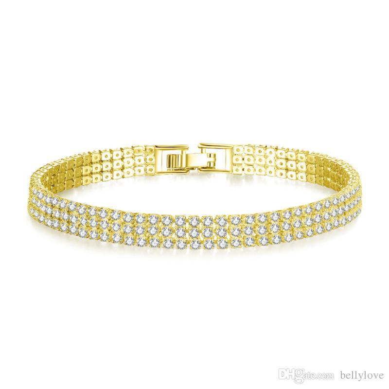 Joyería de oro amarillo de 18 quilates blanco / plateado espumoso circón cúbico CZ Cluster Tenis para mujer de la pulsera de la boda del partido