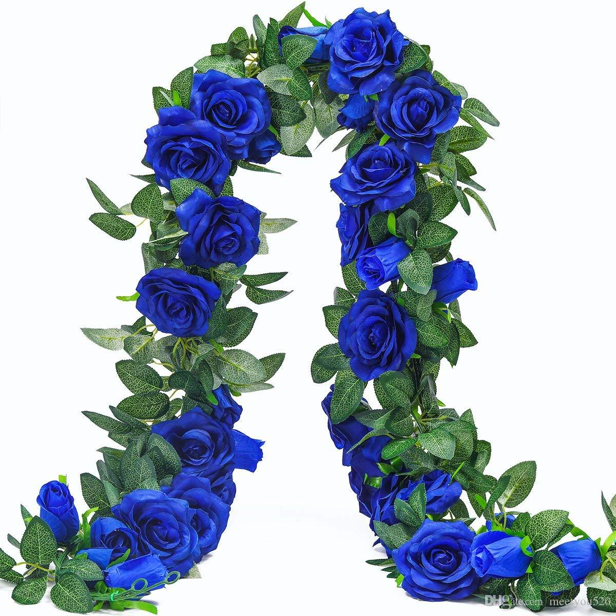 65ft artificial rose vine silk flower garland hanging baskets 65ft artificial rose vine silk flower garland hanging baskets plants home outdoor wedding arch garden wall decorpack of 2 royal blue artificial flowers izmirmasajfo