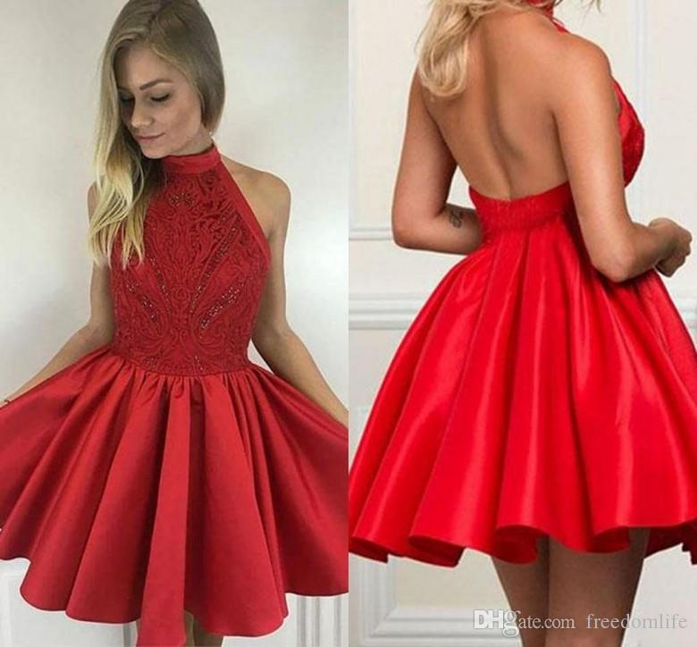 01be1e7afc3 Sexy Red Homecoming Dresses Halter Open Back Satin Lace Short Prom Dresses  With Beaded A Line Cocktail Gowns Long Gowns For Sale Long White Gowns From  ...