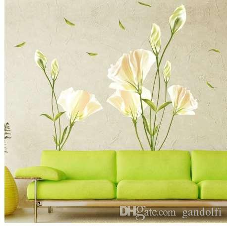Elegant white lily flowers wall stickers women rooms backdrop home elegant white lily flowers wall stickers women rooms backdrop home decor glass window carved decals removal diy wall papers wall decals cheap wall decals mightylinksfo