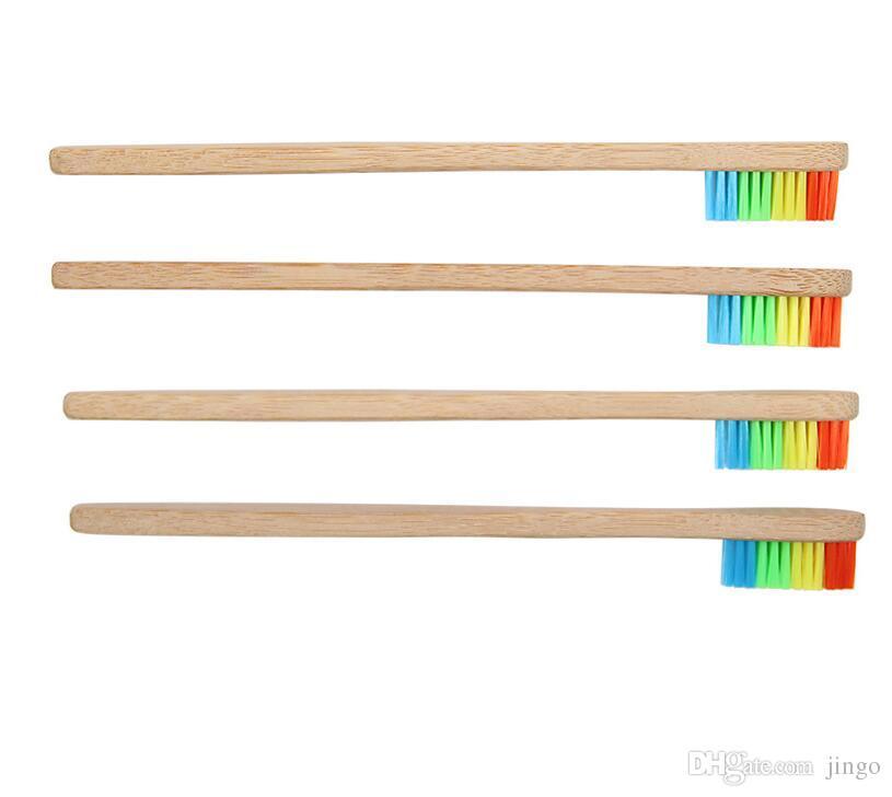 DHL arc-en-brosse à dents en bambou pour l'environnement en bois Brosse à dents à poils doux tête poignée en bambou adulte brosse à dents Oral Soins nt