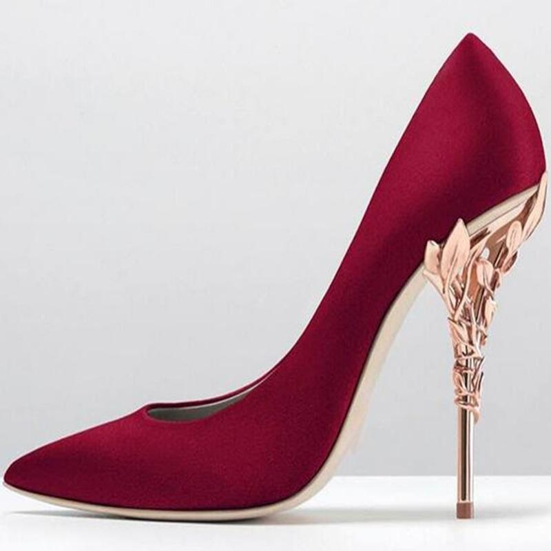 51199e7ca73 New Arrivals Red Satin Gold Leaf High Heel Pumps Pointed Toe Slip-on Women  Wedding Party Dress Shoes Sexy Bride Heels Pumps