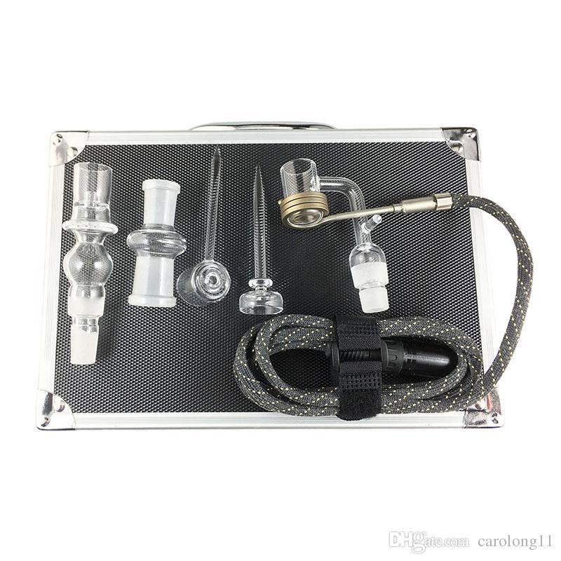 Double Quartz E Dab Nail Boîte Kit Electic 14 18 MM Femelle Quartz Homme Nail Électrique Dab Nail Kit Complet de Température Contrôleur Dabber Outils