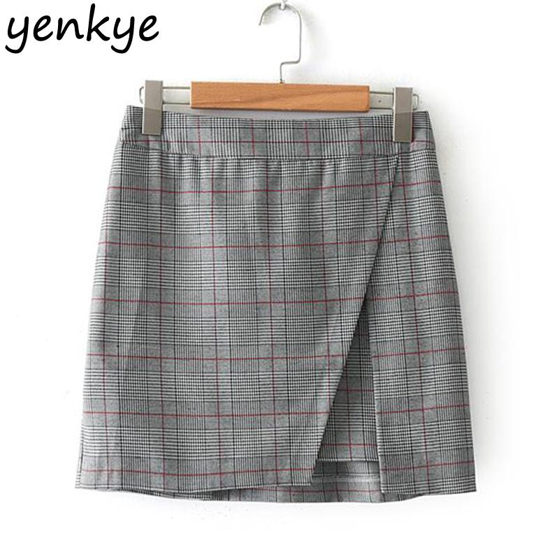56d2f428bf 2019 European Style Women Vintage Plaid Skirt Elegant Lady Office Elastic  High Waist Mini Skirt Checked Saia XNGC9149 From Sizhu