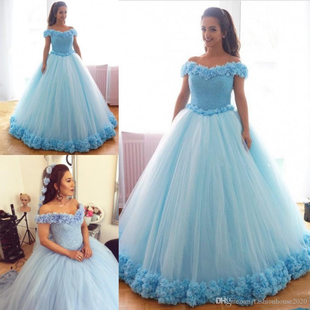 16864077cf 2019 Light Blue Quinceanera Dresses Off Shoulder Flowers Tulle Puffy Crystal  Beads Sweet 16 Floor Length Plus Size Party Prom Evening Gowns Cheap Blue  ...